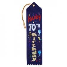 AWARD RIBBON HAPPY 70TH BIRTHDAY