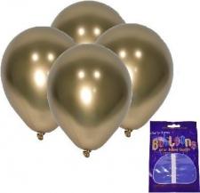 LATEX CHROME BALLOONS GOLD 10's
