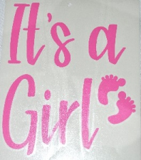 BALLOON STICKER IT'S A GIRL LIGHT PINK