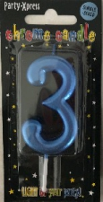 CANDLES CHROME BLUE NUMBER 3