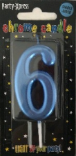 CANDLES CHROME BLUE NUMBER 6