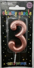 CANDLES CHROME ROSE GOLD NUMBER 3