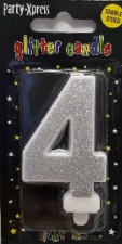 CANDLES GLITTER SILVER NUMBER 4