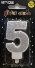 CANDLES GLITTER SILVER NUMBER 5