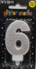 CANDLES GLITTER SILVER NUMBER 6
