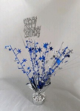 CENTREPIECE BLUE SILVER HAPPY BIRTHDAY