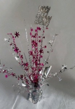 CENTREPIECE PINK SILVER HAPPY BIRTHDAY