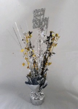 CENTREPIECE BLACK SILVER GOLD HAPPY BIRTHDAY
