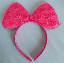 HEADPIECE BOW HOT PINK