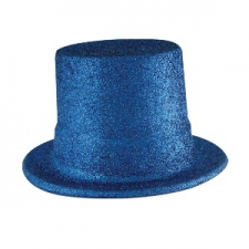 HAT TOP HAT GLITTER BLUE