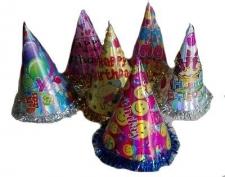 HAT CONE HOLOGRAPHIC 24CM HAPPY BIRTHDAY