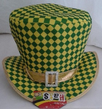 HAT MAD HATTER CHECKER YELLOW AND GREEN
