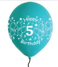 LATEX PRINTED 5th BALLOONS ASSTD 10s