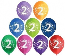 LATEX PRINTED NO.2 BALLOONS ASSTD 10S