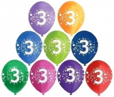 LATEX PRINTED NO.3 BALLOONS ASSTD 10S