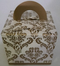 GIFT BOX DAMASK WITH HANDLE GOLD 8s