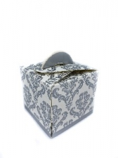 GIFT BOX DAMASK WITH HANDLE SILVER 8s