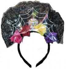 HEADPIECE DAY OF THE DEAD VEIL WITH FLOWERS