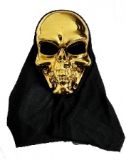 HALLOWEEN MASK SKULL HOOD GOLD