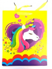 GIFT BAG UNICORN LOVE MED 32 X 26 CM