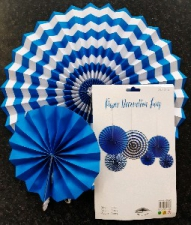 PAPER FAN DARK BLUE 6PCS
