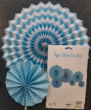 PAPER FAN LIGHT BLUE 6PCS