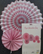 PAPER FAN  LIGHT PINK 6PCS