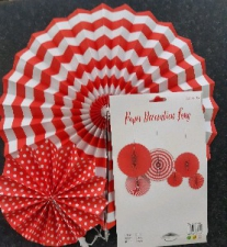 PAPER FAN RED 6PCS