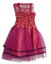 PRINCESS DRESS BRIGHT PINK POLKA
