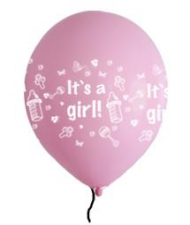 LATEX PRINTED ITS A GIRL BALLOONS 10s