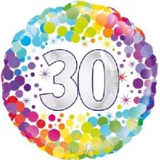 18 INCH FOIL COLOURFUL 30TH BIRTHDAY BALLOON