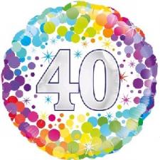 18 INCH FOIL COLOURFUL 40TH BIRTHDAY BALLOON