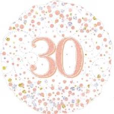 18 INCH FOIL ROSE GOLD 30TH BIRTHDAY BALLOON