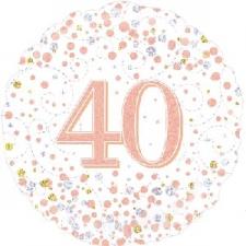 18 INCH FOIL ROSE GOLD 40TH BIRTHDAY BALLOON