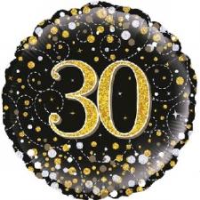 18 INCH FOIL BLACK FIZZ 30TH BIRTHDAY BALLOON