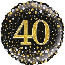 18 INCH FOIL BLACK FIZZ 40TH BIRTHDAY BALLOON