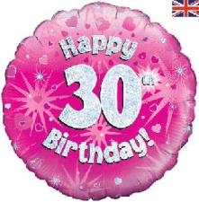 18 INCH FOIL PINK 30TH BIRTHDAY BALLOON