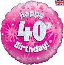 18 INCH FOIL PINK 40TH BIRTHDAY BALLOON