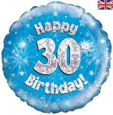 18 INCH FOIL BLUE 30TH BIRTHDAY BALLOON
