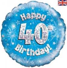 18 INCH FOIL BLUE 40TH BIRTHDAY BALLOON