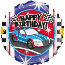 18 INCH FOIL HAPPY BIRTHDAY BALLOON SPORTS CAR DES