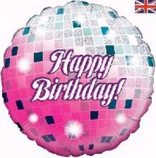 18 INCH FOIL HAPPY BIRTHDAY MIRROR BALL BALLOON DE
