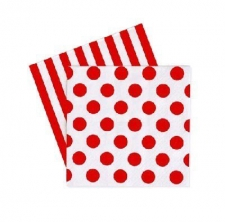DOTS AND STRIPES RED SERVIETTES LUNCHEON