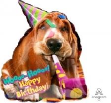 SUPERSHAPE DOG BALLOON BASSET HAPPY BIRTHDAY
