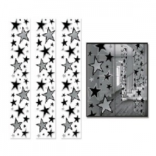 PARTY PANELS STARS SILVER 3S 12INCHX 6FOOT