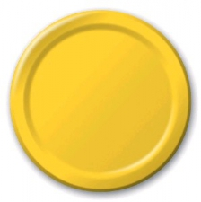 SOLID COLOUR SCHOOL BUS YELLOW PLATES 7 INCH