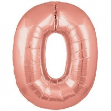 34 INCH FOIL ROSE GOLD NUMBER BALLOON 0