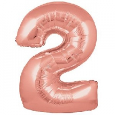 34 INCH FOIL ROSE GOLD NUMBER BALLOON 2