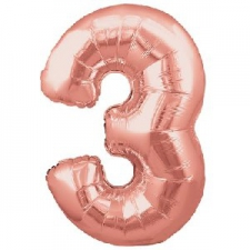 34 INCH FOIL ROSE GOLD NUMBER BALLOON 3