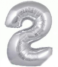 34 INCH FOIL SILVER NUMBER BALLOON 2